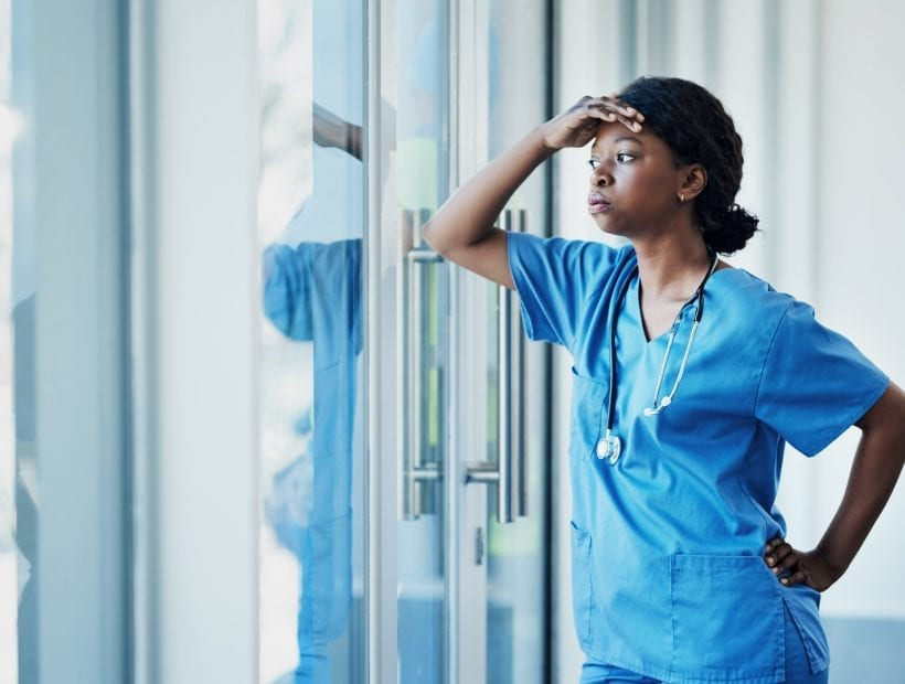 travel nurse dealing with stress from shift