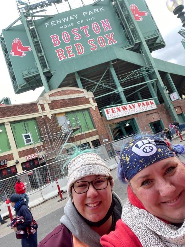 Jenn and Kylea at a Boston Red Sox game at Fenway Park