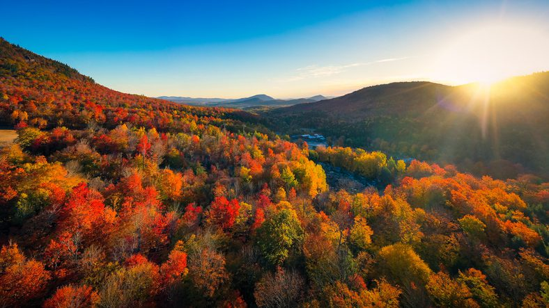 Aerial view of Adirondacks in the fall